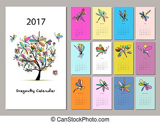 Dragonfly calendar 2017 design. Vector illustration