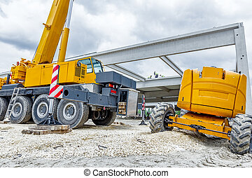 Low angle view on big crane's wheels, undercarriage - Part...