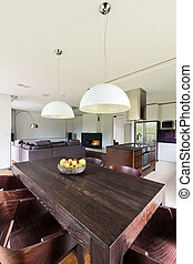 Open space of modern house's ground floor seen from the...