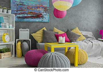 Ideas about ottoman- natural wool pouf and colorful...