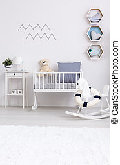 Minimalist baby room with cradle - White minimalist room for...