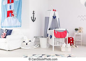 Baby room with nautical accents - Bright minimalist baby...