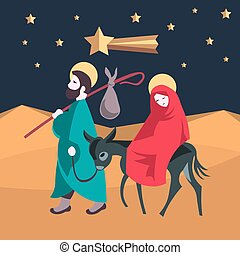 Mary and Joseph flee to Egypt Nativity Jesus Illustration