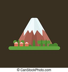 Volcano vector illustration. - Volcano magma nature blowing...