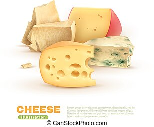Colorful Cheese Template - Colorful cheese template with...