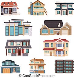 Suburban Houses Collection - Suburban houses collection of...