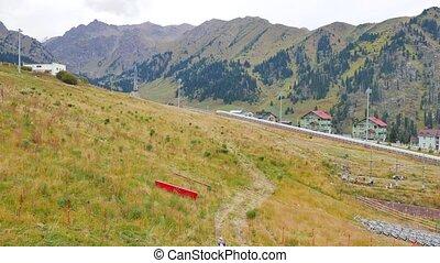 Slope ski resort in the summer. Shymbulak, Almaty,...