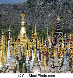 Shwe Inn Thein Temple - Ithein - Myanmar - Overview of the...