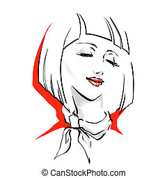 Logo with stylish woman haircut - Beautiful woman face with...