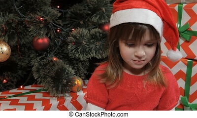 Little girl writes letter to the Santa Claus