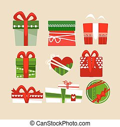 Christmas gift boxes icons set for holidays. Flat collection...