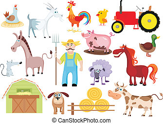 farm set - vector illustration of a farm set