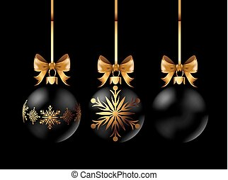 Black Christmas decoration ball with golden ribbon bow on...