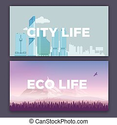 Vector concept illustration of city environment and mountain landscape. Urban and village life.