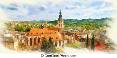 Panoramic view of Baden-Baden. Europe, Germany. Oil painting...