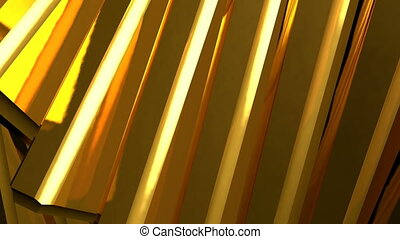 Abstract background of rotation gold steel boxes with...