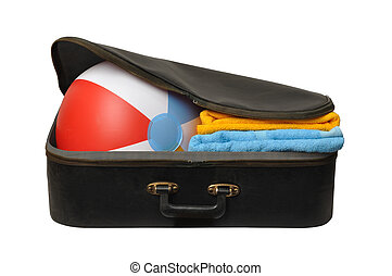 Holiday Suitcase - Black suitcase with beach ball isolated...