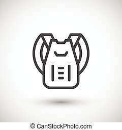 Backpack line icon isolated on grey. Vector illustration