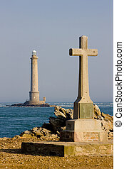 cross and lighthouse, Normandy, France - cross and...