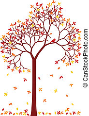 colorful autumn tree - autumn tree with colorful falling...