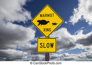 Marmot Crossing Roadsign with Cloudy Sky - Marmot crossing...