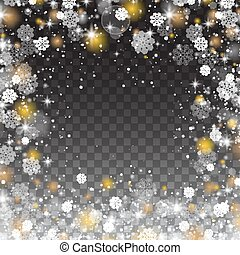 Snowflakes frame, snowfall Lights on transparent background....