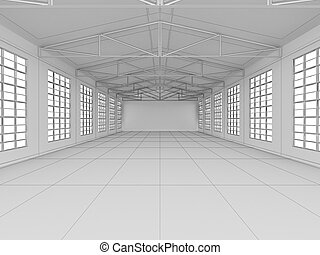 Large modern empty storehouse. 3D illustration. Business...