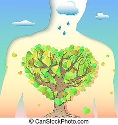 Pure Breath - Creative symbolic illustration on clean air...
