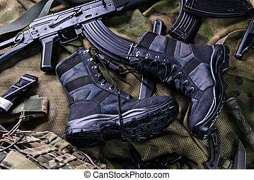 Modern black combat boots - Dark army boots and different...