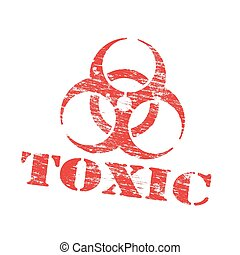 Toxic Biohazard Stamp - Toxic biohazard symbol grungy rubber...