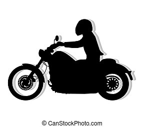 Motorcyclist silhouette illustration On white background