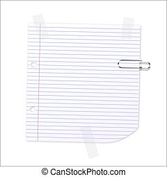 Vector Lined Paper - Lined writing paper with clear tape and...