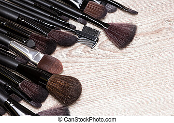 Professional tools of makeup artist with copy space -...