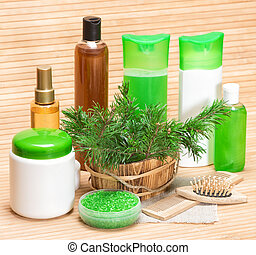 Natural hair care cosmetic products and accessories. Sea...