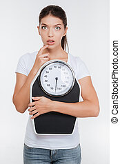 Model with weight scale - Surprised and thoughtful model...