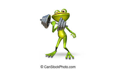 Frog with a Dumbbell - Animation Frog with a Dumbbell_alpha...