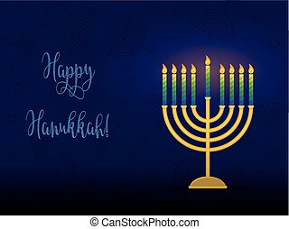 Hanukkah menorah with congratulation, card for jewish...