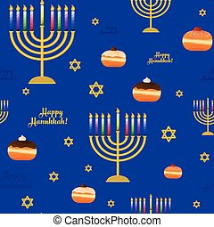Seamless pattern with symbols for holiday of Hanukkah,...
