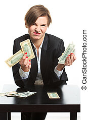 caucasian businesswoman in black suit holding money - young...