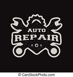 Car repair, monochrome emblem. - Car repair monochrome...