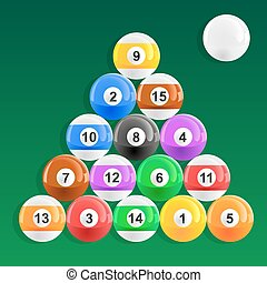 Eight Ball Pool Rack - American pool balls racked in 8 ball...