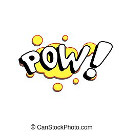 Cartoon Vector Pow - Cartoon pow sound colorful text caption...