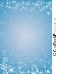 Winter blue christmas background with snowflake border
