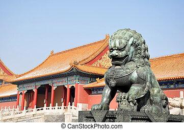Bronze Lion in Forbidden City Bejing