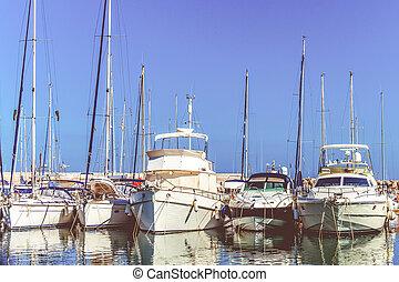 Sea bay with yachts.  yachts at sea port