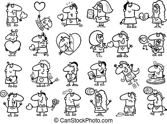 valentines people for coloring - Black and White Cartoon...