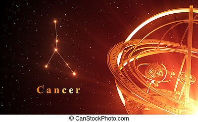 Zodiac Constellation Cancer And Armillary Sphere Over Red...