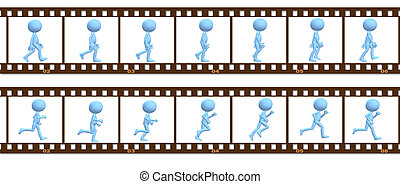 Animation symbol people walk run in cel frames - A 3D...