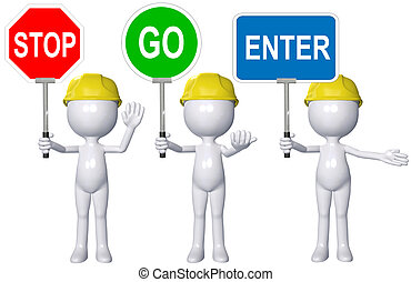 Construction 3D person STOP GO ENTER signs - A cartoon 3D...