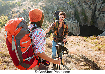 Tourists in the mountains